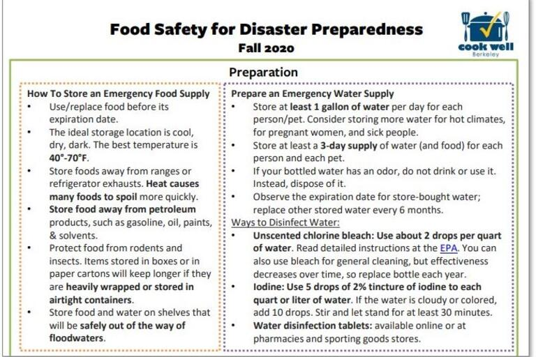 food safety for disaster preparedness handout
