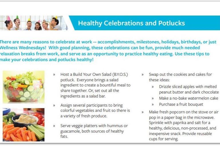 healthy celebrations and potlucks handout