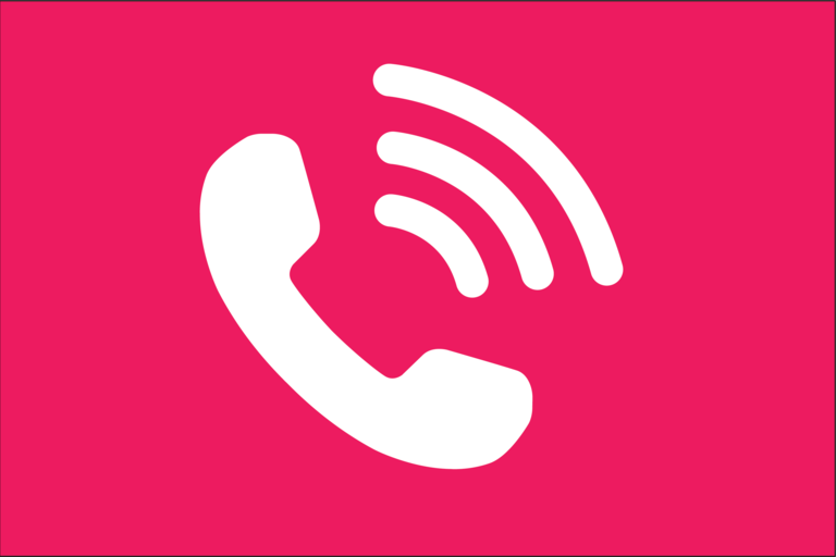 Icon of telephone with a pink background