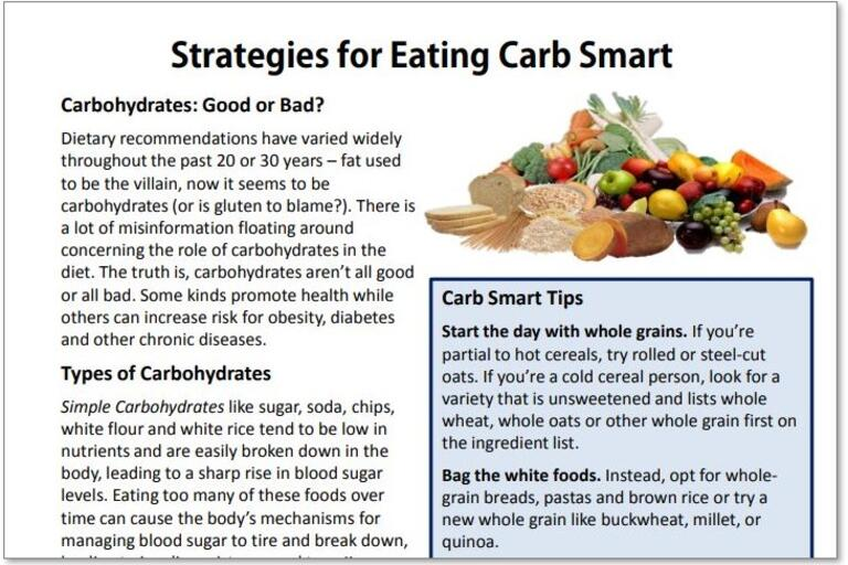 strategies for eating carb smart handout