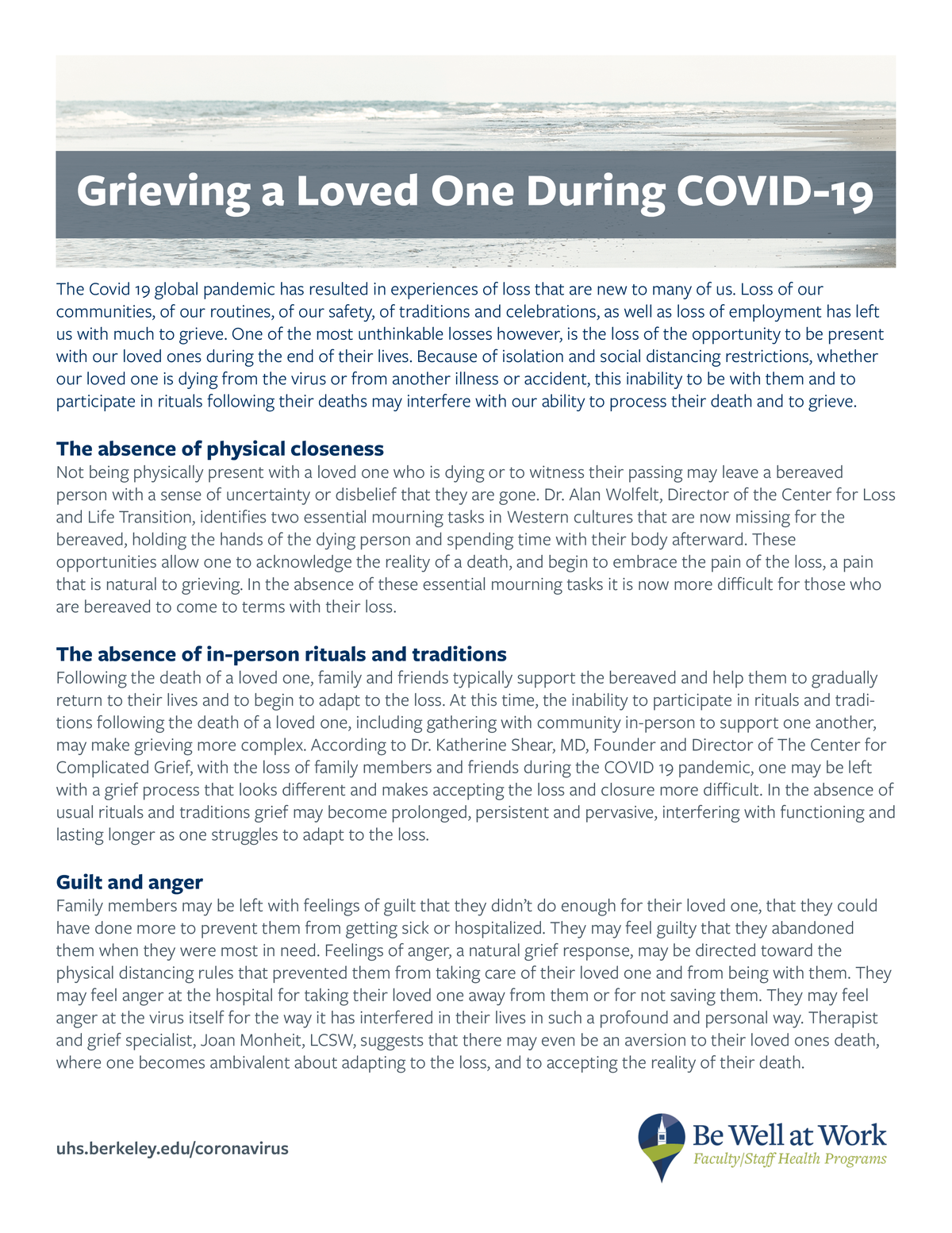 Grieving for a Loved One during Covid-19 handout