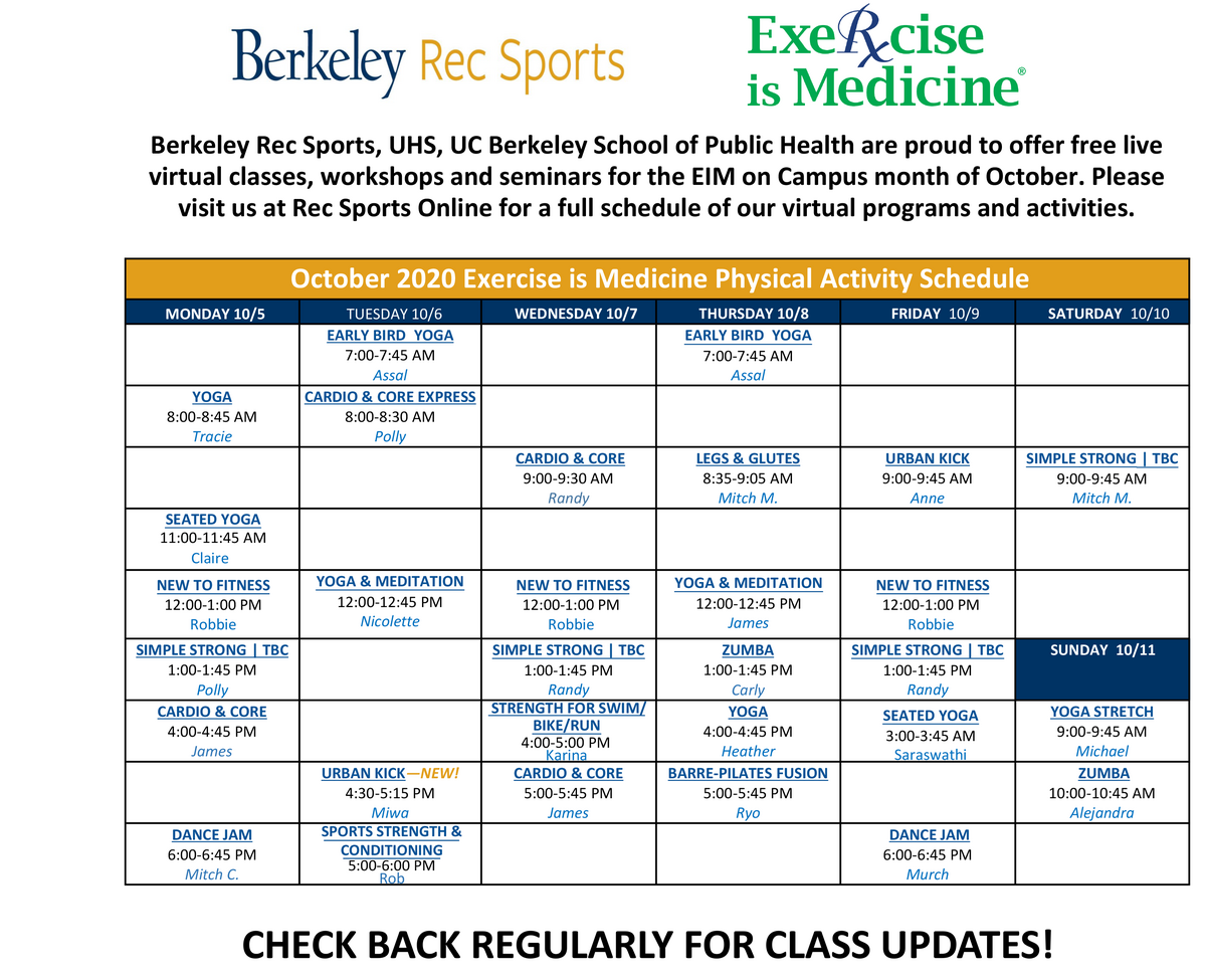 Exercise is Medicine Schedule from RSF