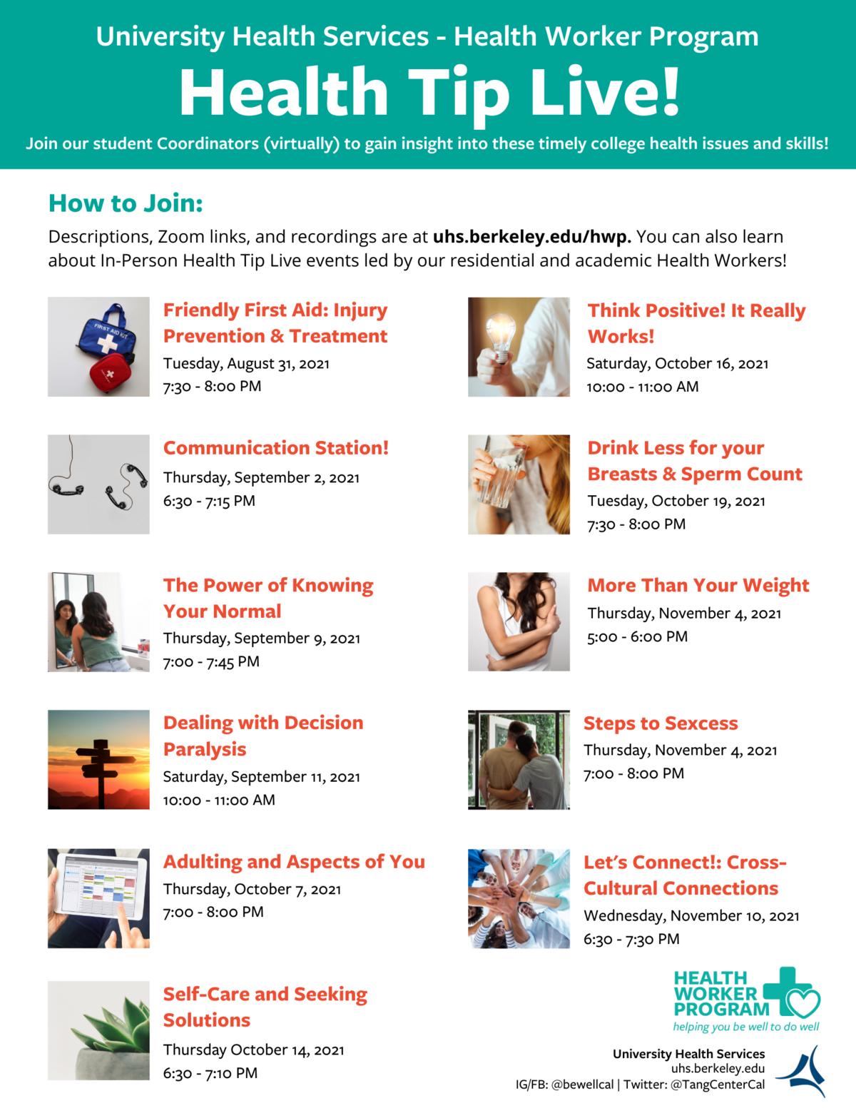 Fall 2021 Health Tip Live Schedule
