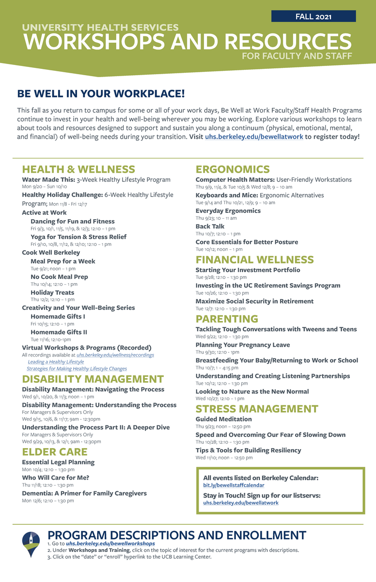 Be Well at Work Fall 2021 Workshops and Events