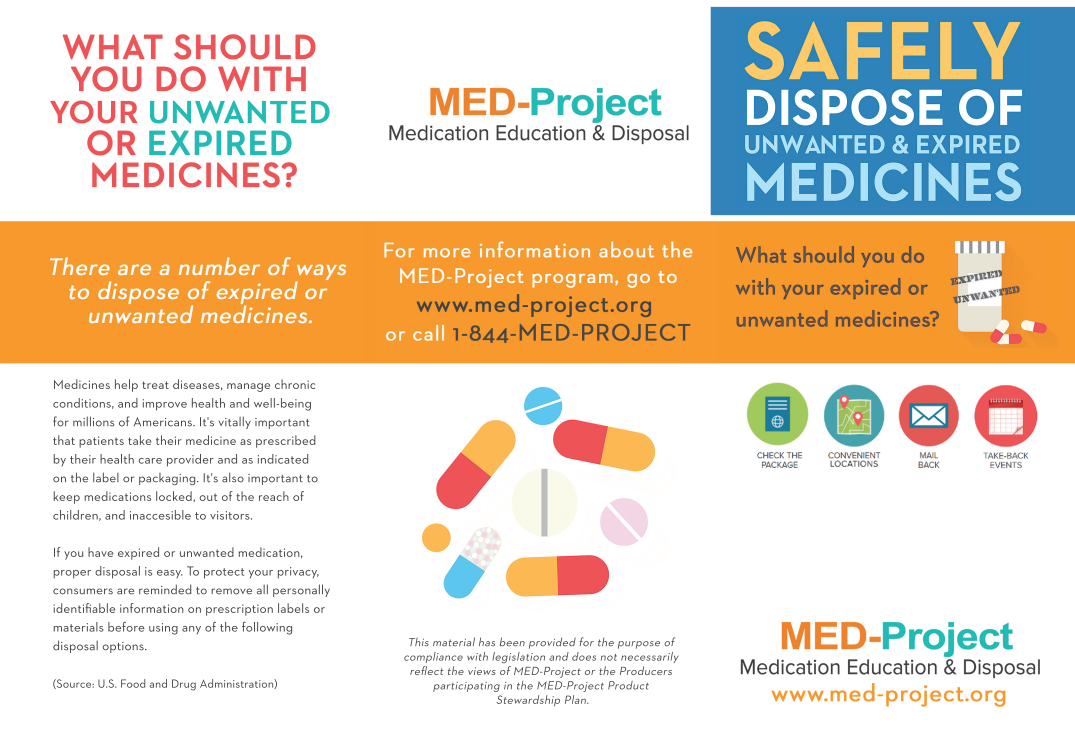Med project page one of brochure on disposing meds properly