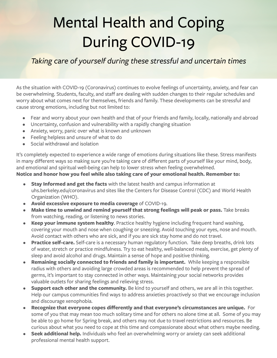 Handout on Mental health and coping around coronavirus