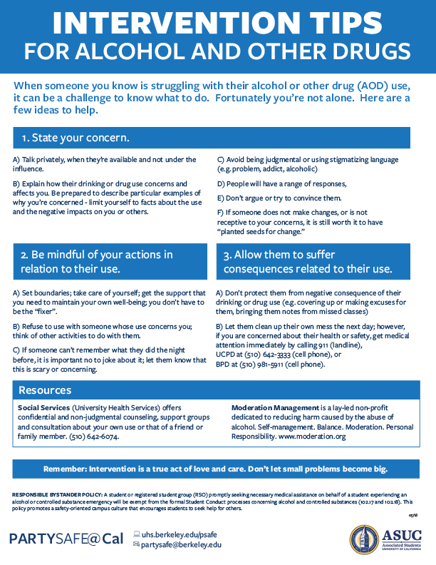 Alcohol and Other Drugs Intervention tips