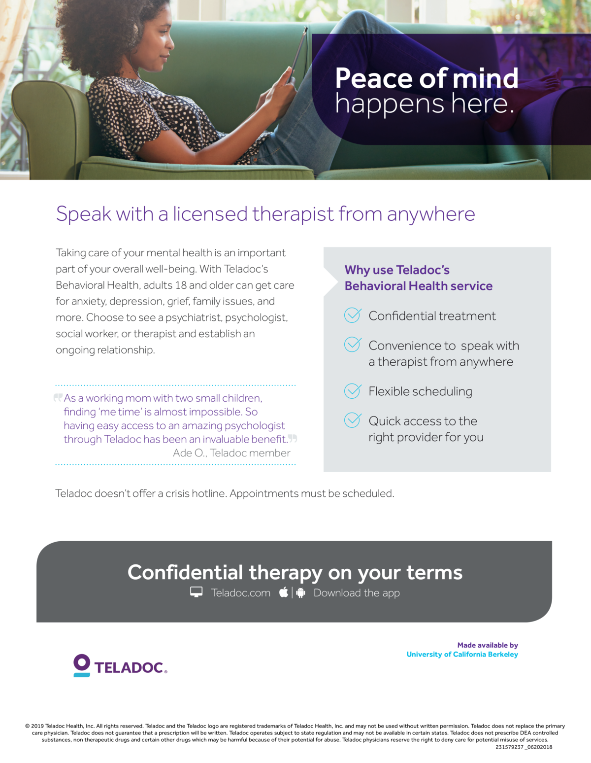 teladoc flier for behavioral health therapists