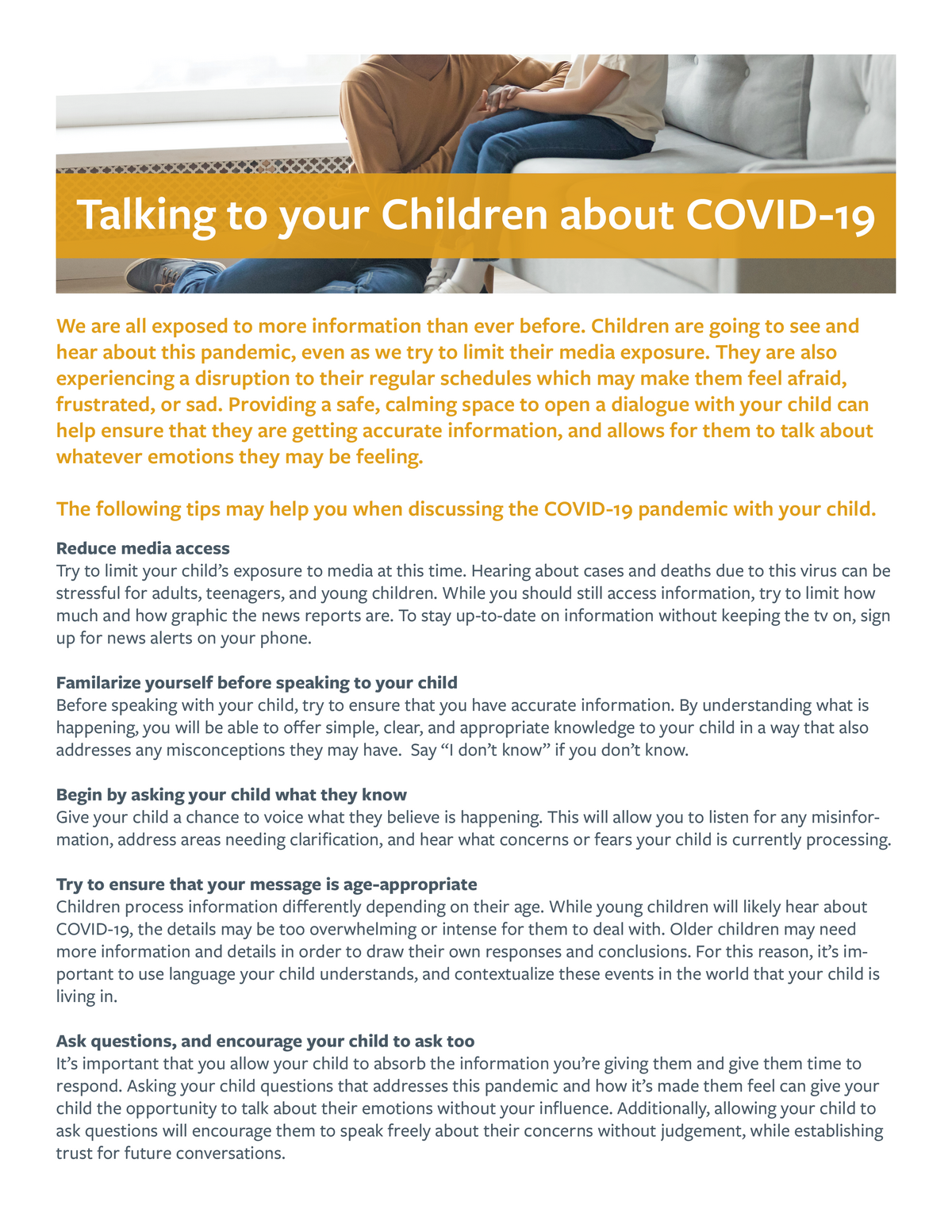 Talking to your Children about Coronavirus - Handout