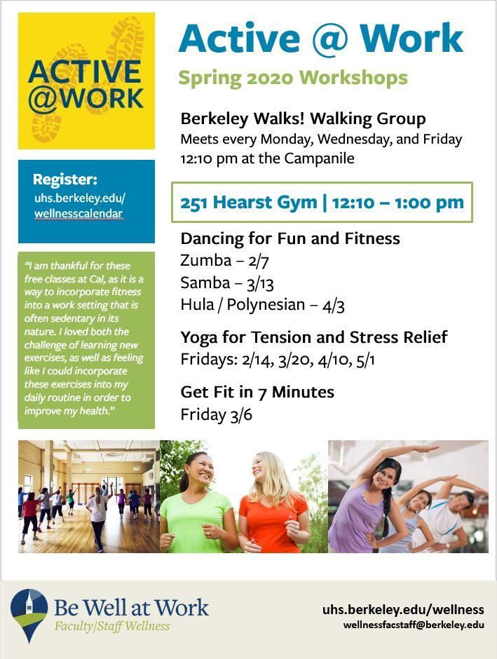 be well at work flyer of active at work programs