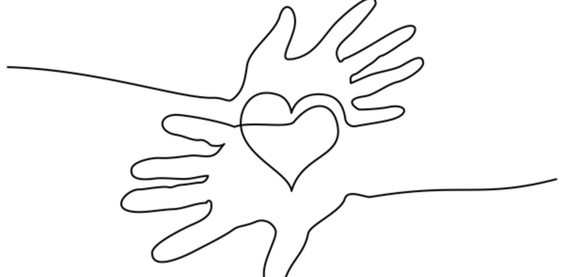 drawing of a line that is two hands with a heart connecting them