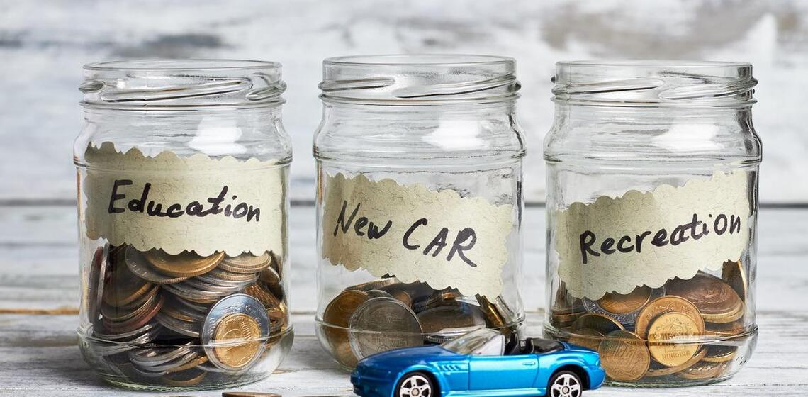 saving jars for education, vacation, and new car