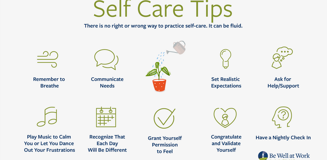 Infograph with reminders to breath, communicate needs, set realistic expectations, and ask for help