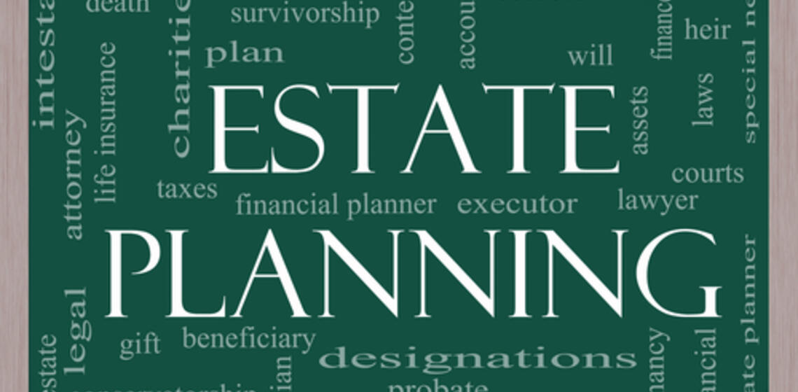 Word Cloud with Legal Terms and 'Estate Planning' in the center