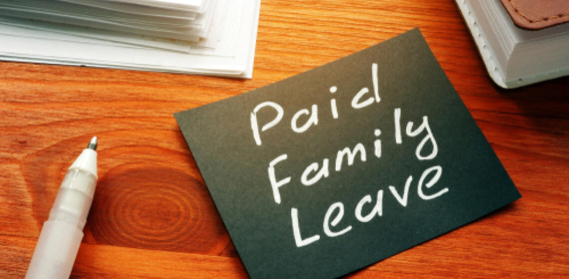 Text sign showing hand written words Paid family leave