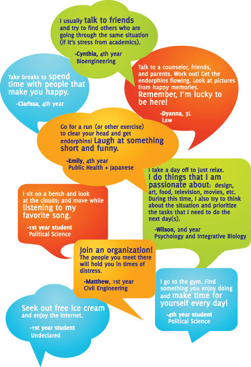 Student tips for managing stress