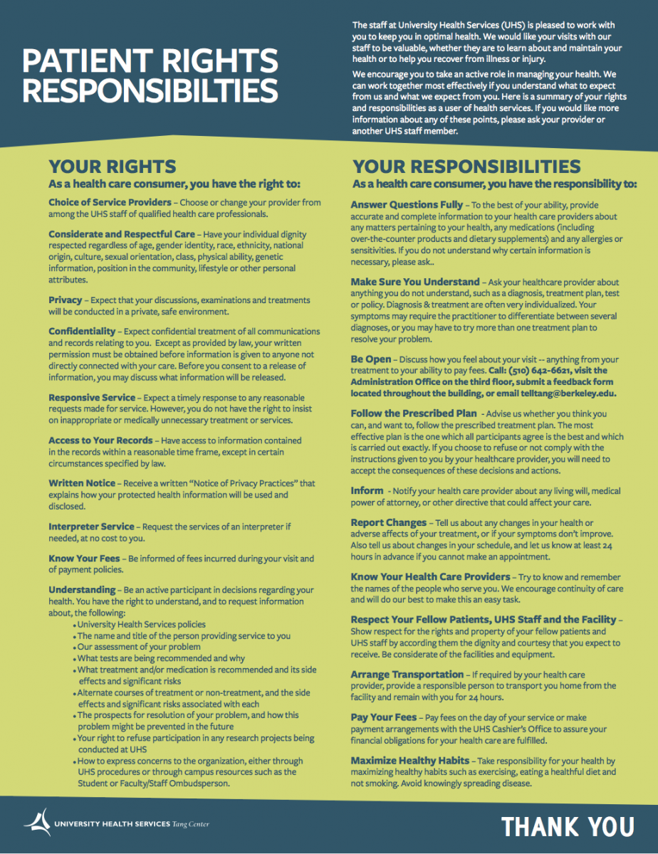 patient rights and responsibilities sign