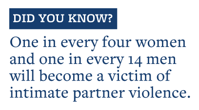 One in every four women and one in every 14 men  will become a victim of  intimate partner violence.