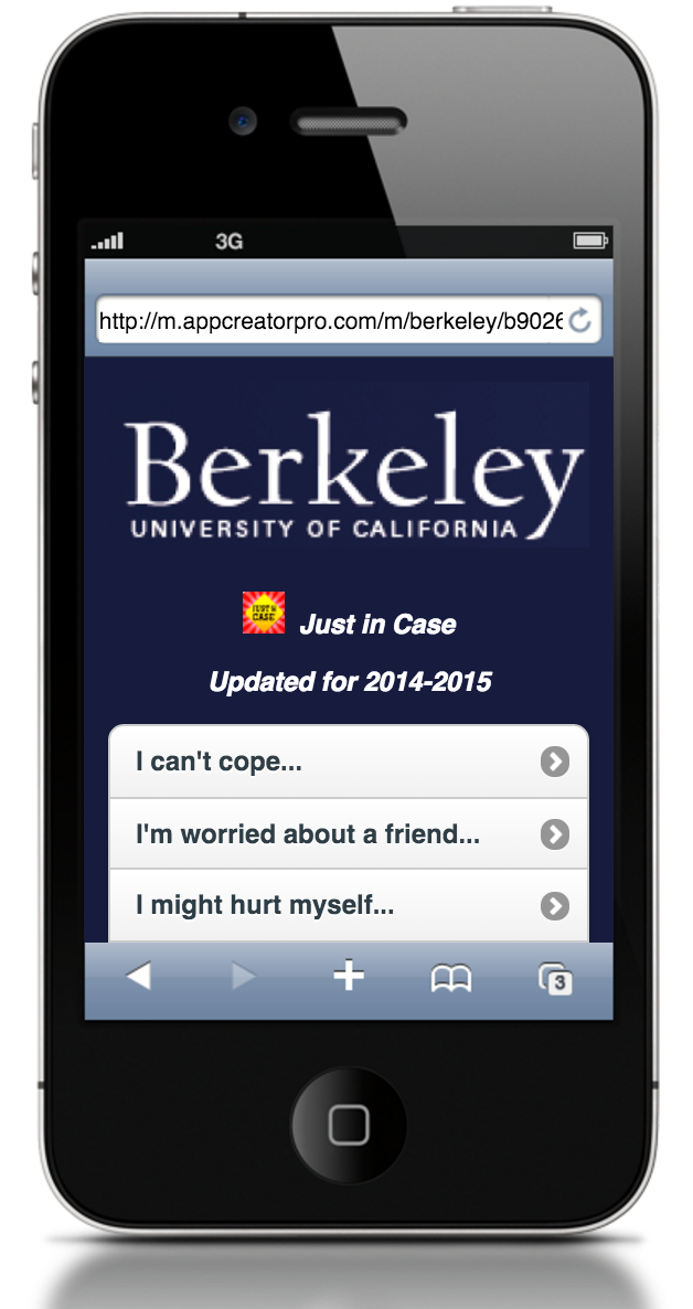 download the just in case berkeley app for students