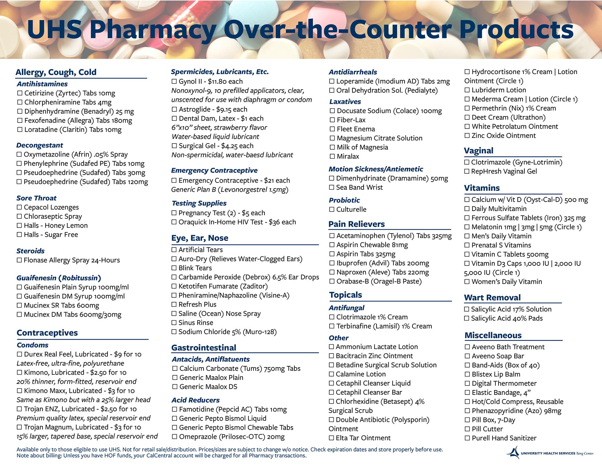 Pharmacy OTC list