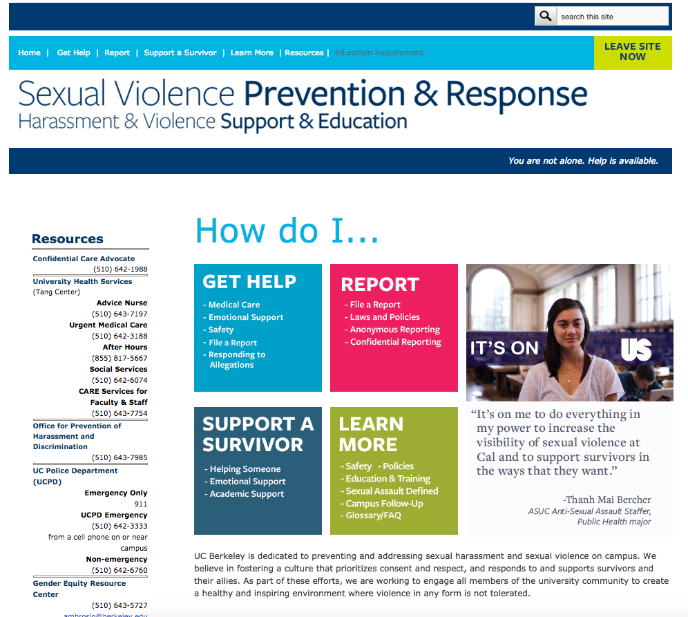 Sexual Violence Prevention & Response website
