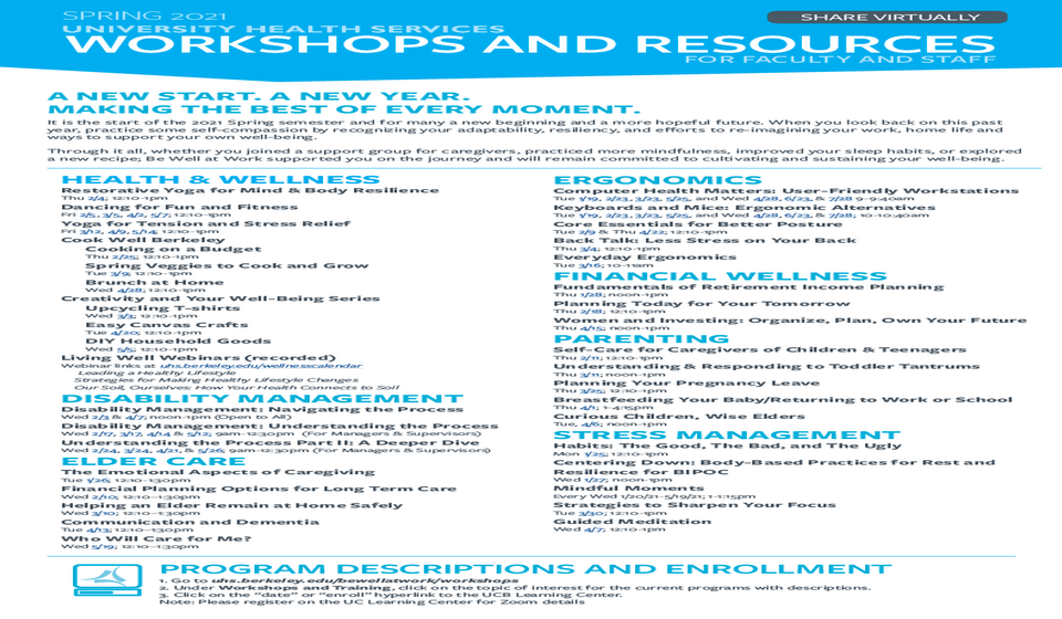 Faculty and Staff Workshops and Resources