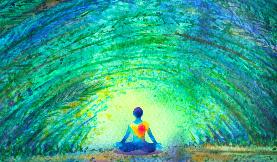 Colorful sketch of a person sitting under a blue green sky with a glowing heart at the center of their body