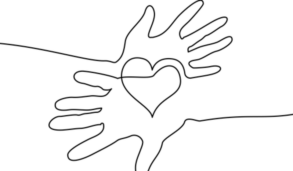 A one line sketch of 2 hands with a heart in the middle