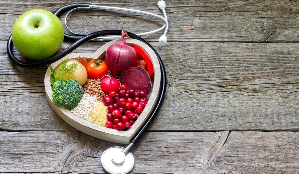 image of stethoscope, fruit, vegatables