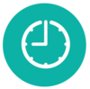 round teal circle with clock icon