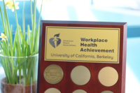 American heart association gold award plauqe given to the University of California, Berkeley, Gold.