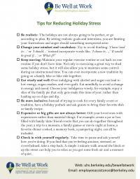 Managing Holiday Stress Worksheet