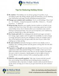 Managing Holiday Stress Worksheet