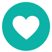 round teal circle with heart icon