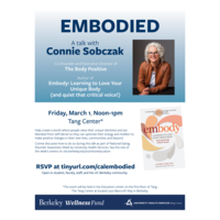 Flier for Embodied, a talk with Connie Sobczak