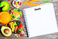 Image of food with a notebook that says goals
