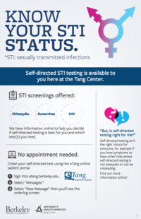 Self-directed STI testing is available to you here at the Tang Center.