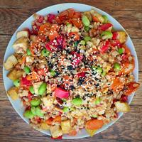 Whole grain salad with miso dressing