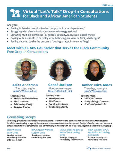 African American CAPS counselors for African American students - Flyer