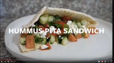 photo of hummus pita sandwich